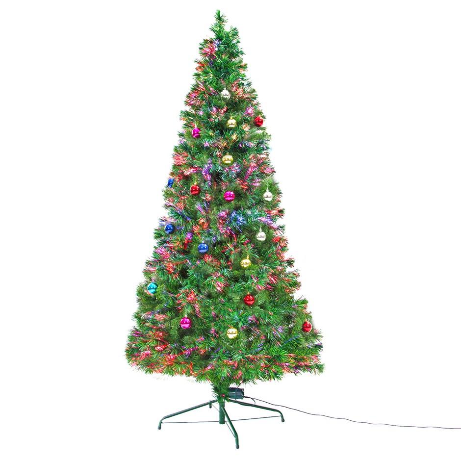 8Ft 240cm Fibre Optic LED Xmas Tree - BAUBLES MULTI COLOUR