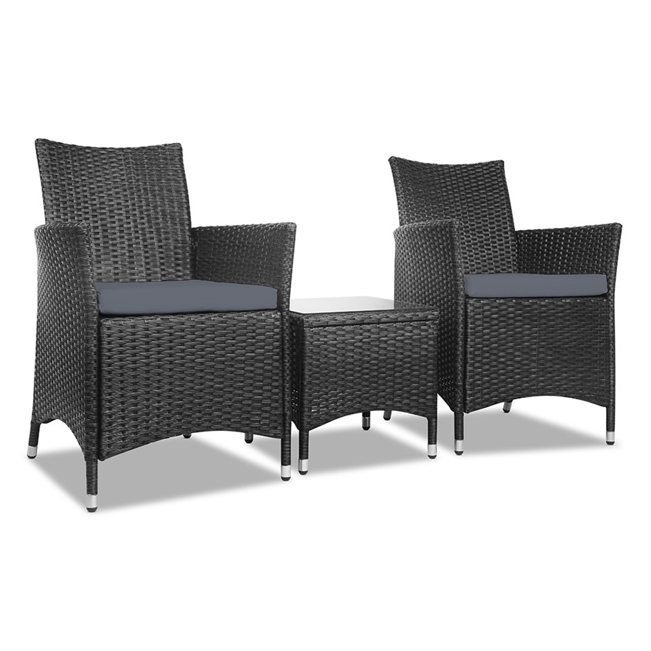 Gardeon 3 Piece Wicker Outdoor Furniture Set - Black - Outdoor Furniture Adelaide Graysonline