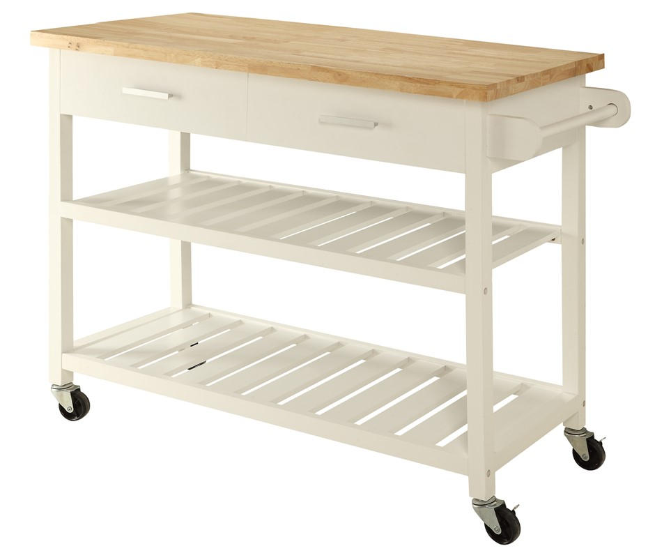 Kitchen Island Trolley Top With Open Shelves - White