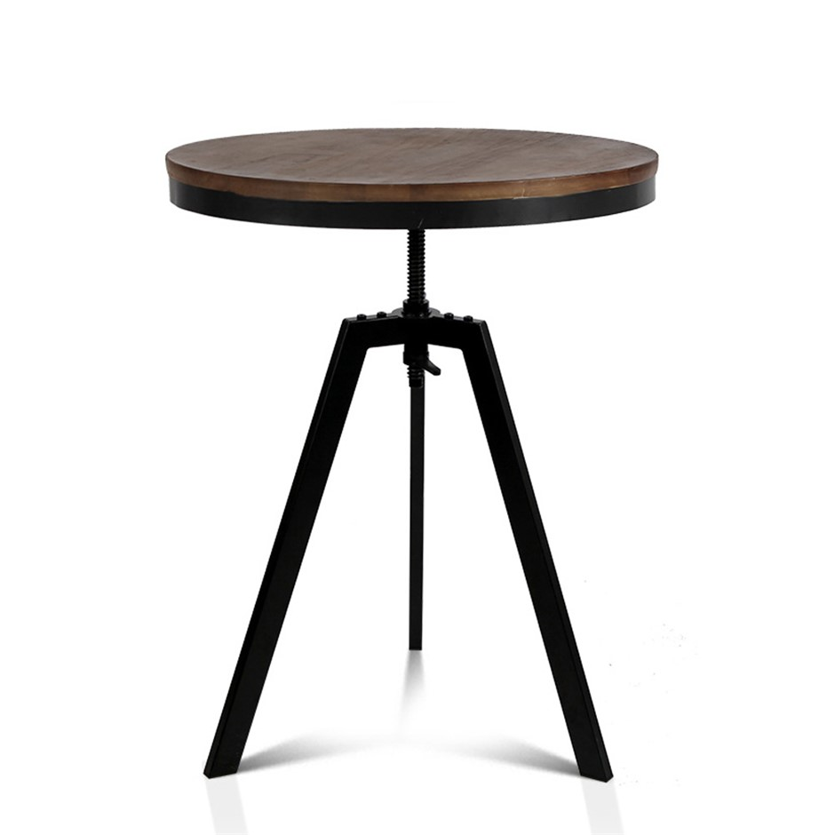 Artiss Elm Wood Round CoffeeTable - Dark Brown