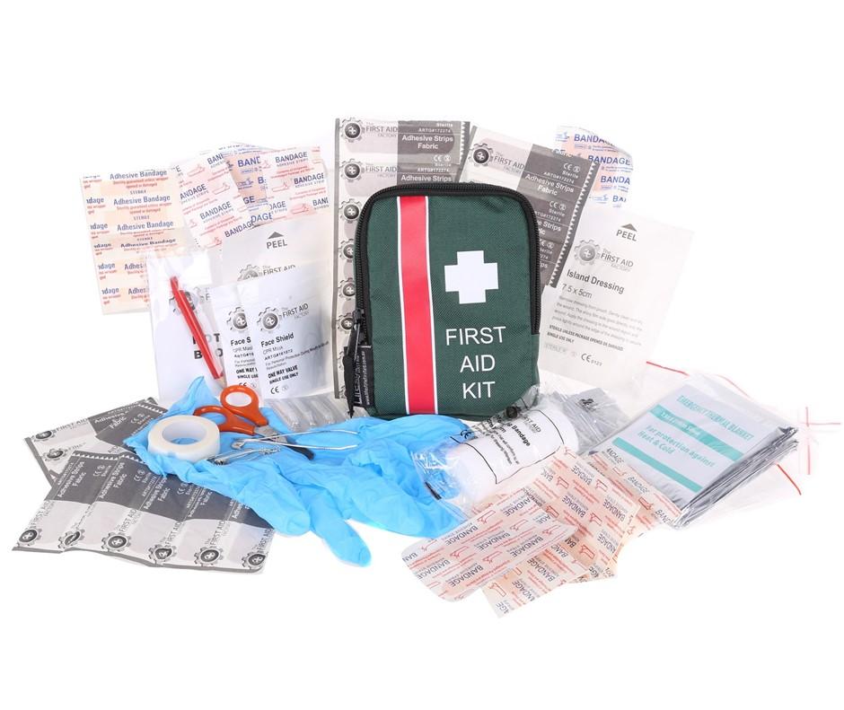 2 x Hikers 74pc First Aid Kits in Soft Zip Carry Case 15 x 12cm with Belt L