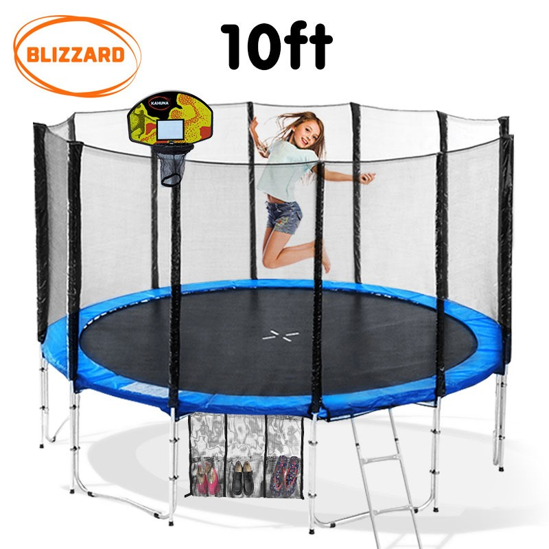 Blizzard 10 ft trampoline with net and basketball set - Blue
