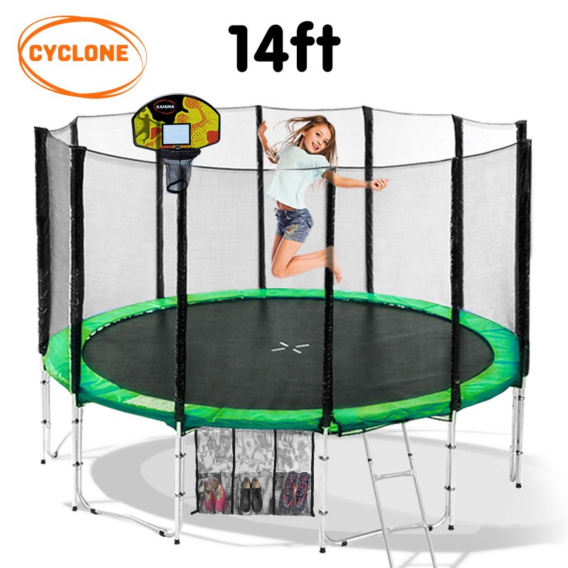 Cyclone 14 ft Springless trampoline with net and basketball set