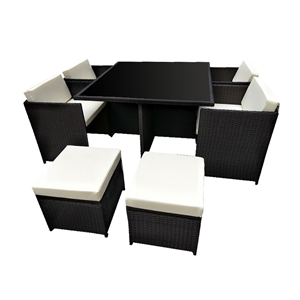 9pc PE Rattan Cube Dining Garden Set - B