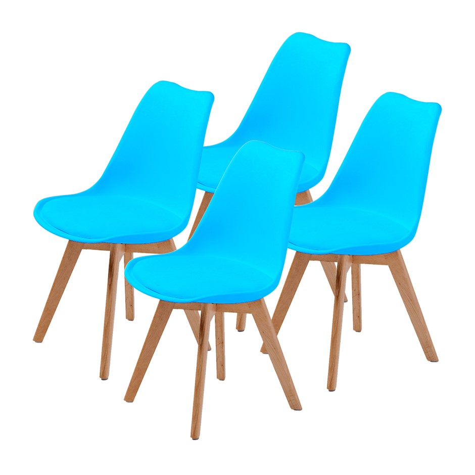 Replica Eames PU Padded Dining Chair - BLUE X4