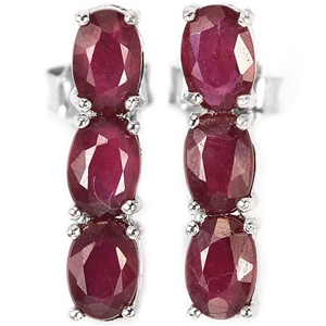 Sterling Silver Natural Red Ruby Earring