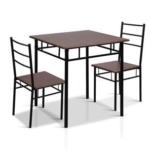 Artiss Metal Table and Chairs - Walnut &