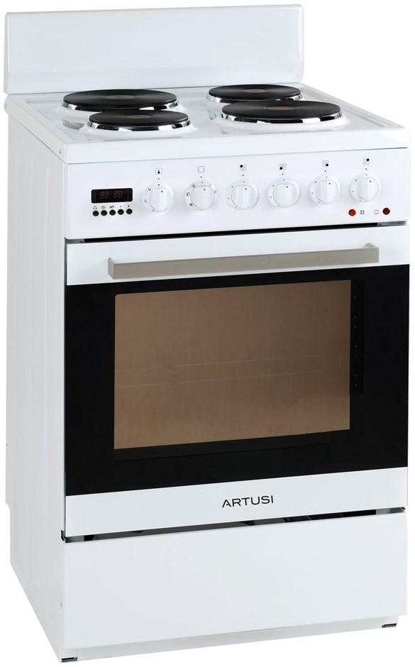 Artusi 54cm Freestanding Electric Stove/Oven, White Enamel (AFE547W)