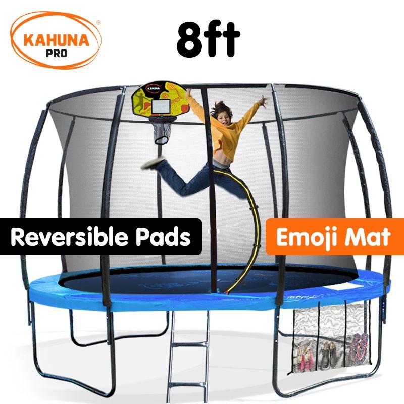 Kahuna Trampoline Pro 08ft - Reversible pad, Emoji Mat, Basketball Set