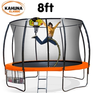 Kahuna Trampoline 8 ft - Orange with Bas