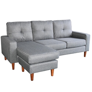 separation shoes c05e9 bfd95 Linen Corner Sofa Couch Lounge Chaise with Wooden Legs - Grey