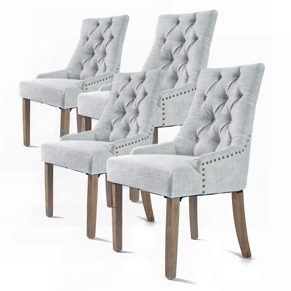 4 x French Provincial Oak Leg Chair AMOUR - GREY