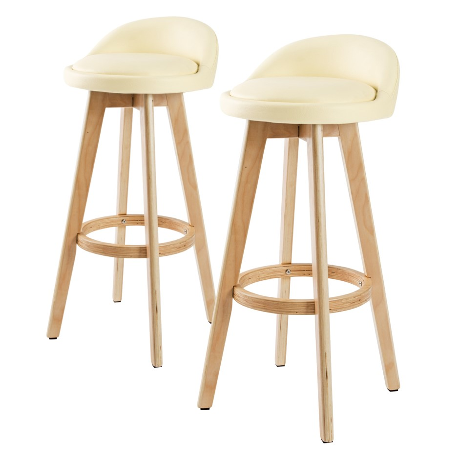 2x Oak Wood Bar Stool 72cm Leather LEILA - CREAM