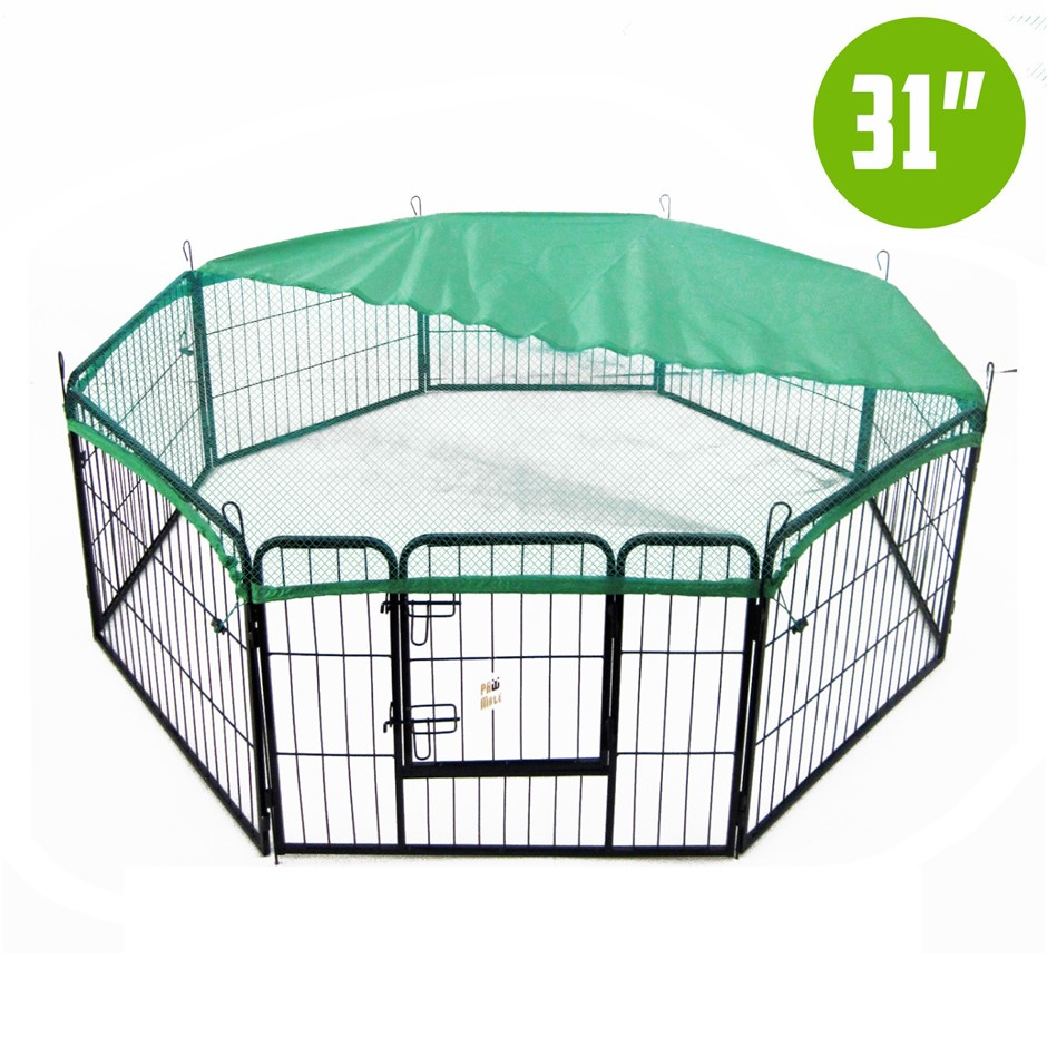 "8 Heavy Duty Panel Foldable Pet Playpen 31"" w/ Cover - GREEN"