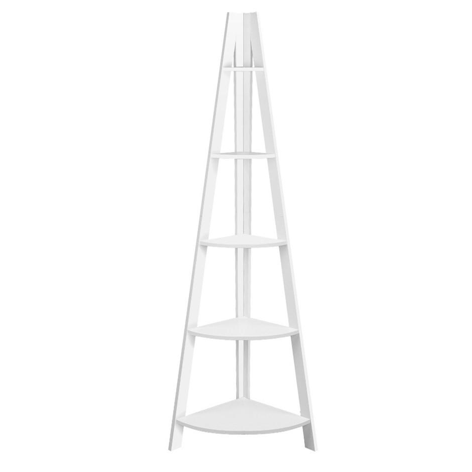 Artiss 5 Tier Corner Ladder Bookshelf - White