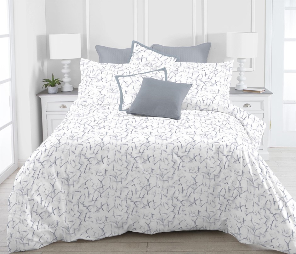 Printed Quilt Cover Set Marble - QUEEN