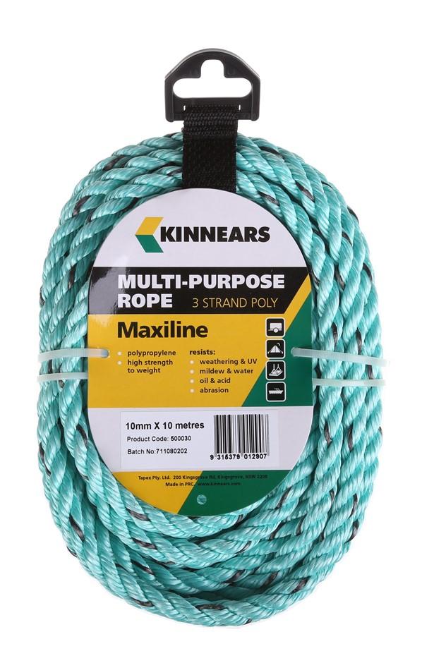 12 Coils x KINNEARS Multi-Purpose 3-Strand Poly Rope, 10mm x 10m. Buyers No