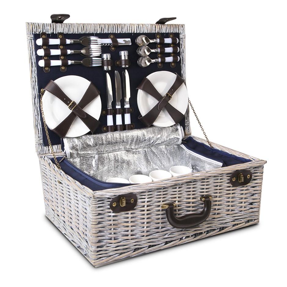 Alfresco 6 Person Wicker Picnic Basket - Blue