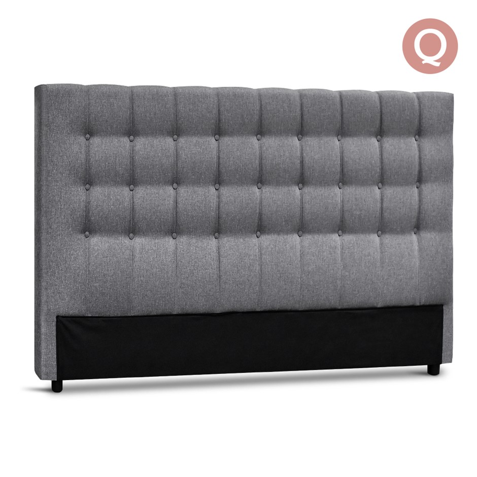 Artiss Queen Size Upholstered Fabric Headboard - Grey