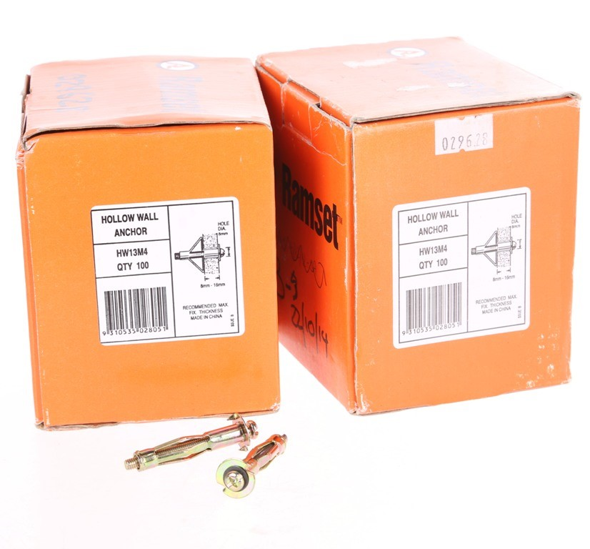 5 Packs of 100 x RAMSET Hollow Wall Anchors 8mm to 13mm. Buyers Note - Disc