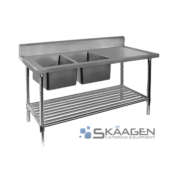 Unused Stainless Steel Sink 1700 x 600 Two (2) bowls - Left position