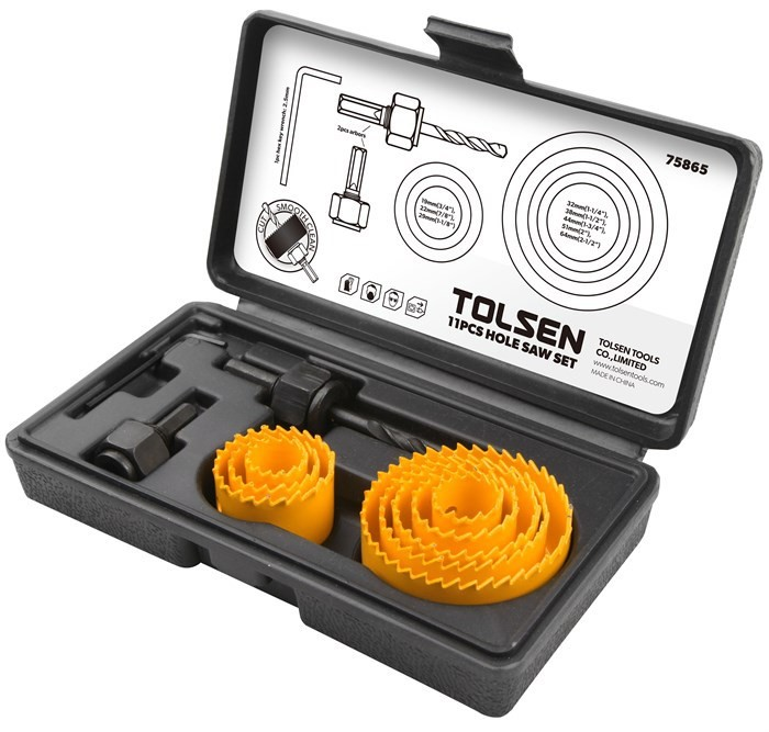 TOLSEN 11pcs Hole Saw Set, Comprising; 19mm (3/4in), 22mm (7/8ins), 29mm (1