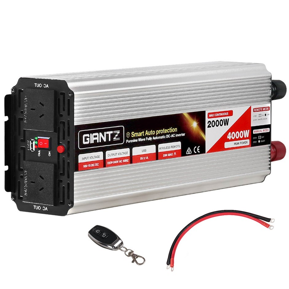 Giantz Power Inverter 2000W/4000W Pure Sine Wave 12V-240V Camping Boat