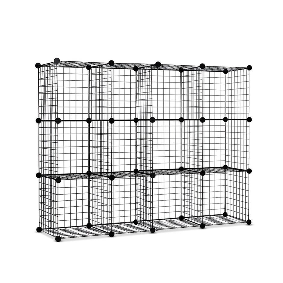 12 Cube Mesh Wire Storage Cabinet