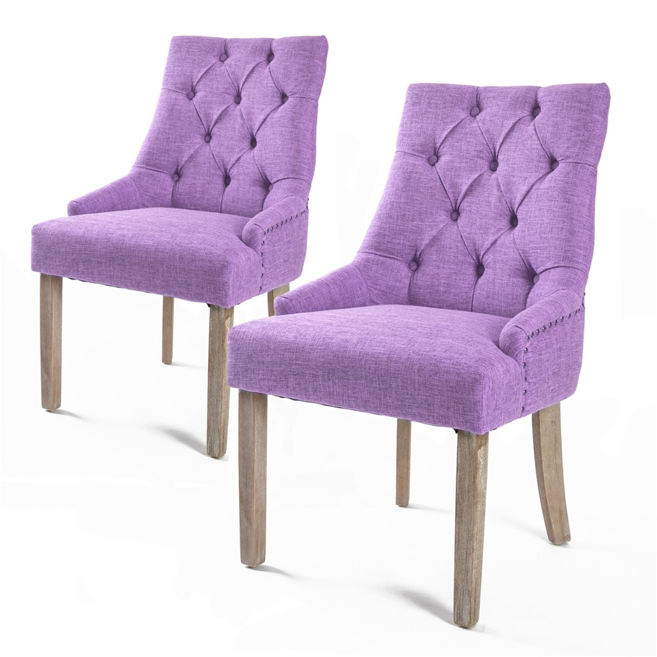 2X French Provincial Oak Leg Chair AMOUR - VIOLET