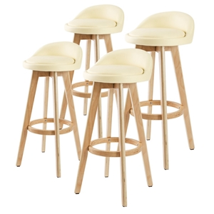 4x Oak Wood Bar Stool 72cm Leather LEILA