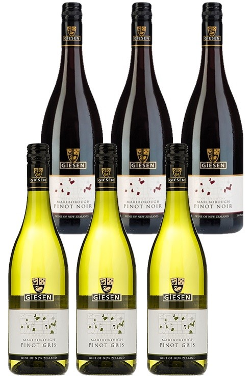 Giesen Pinot Noir & Pinot Gris (6 x 750mL) Mixed Pack