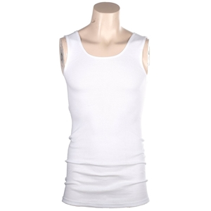 4 x Ribbed Cotton White Singlets Size S,