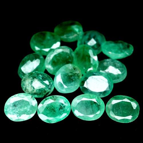 8.66 CT Natural 15Pcs Green Oval Facet Zambia Emerald