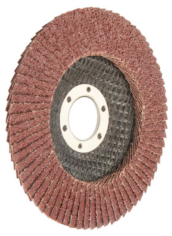 10 x TOLSEN Aluminium Oxide Flap Discs, 115x22.2mm, Grit 80, Fibre Backing.