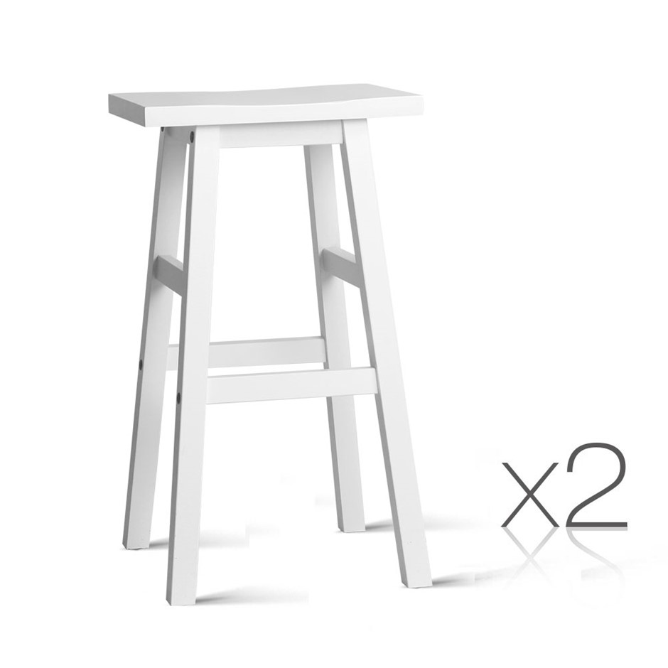 Artiss Set of 2 Wooden Backless Bar Stools - White