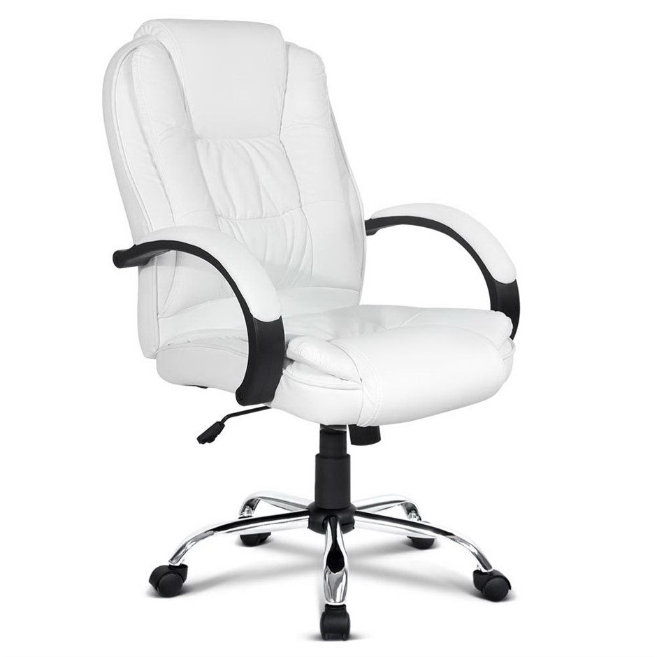 Pu Leather Padded Office Desk Computer Chair White