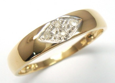 Genuine Diamond 9K Yellow Gold Band Ring