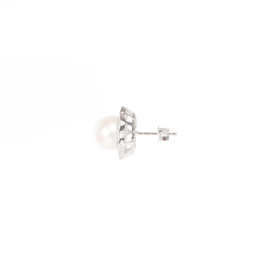 Natural Freshwater Pearl & CZ Set Silver Earrings
