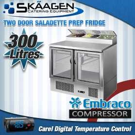 Unused ES02-69-GL 2 Door Saladette Prep Fridge