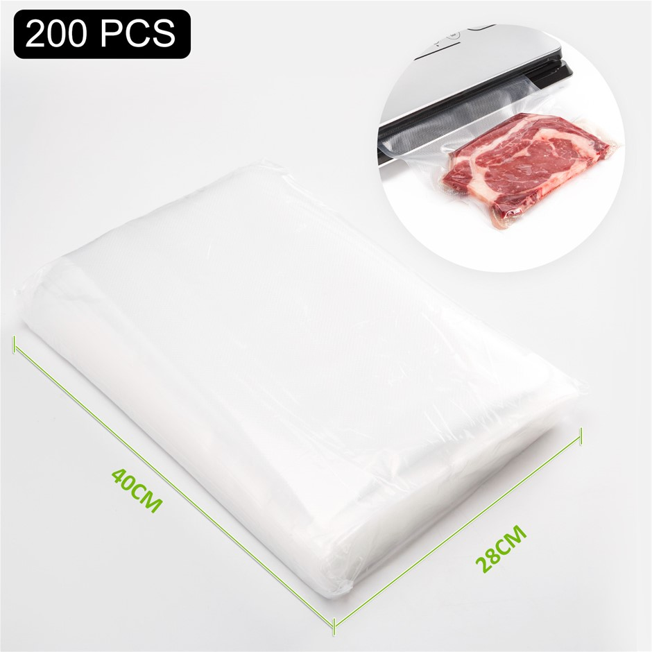 200 Vacuum Food Sealer Pre-Cut Bags - 28cm x 40cm