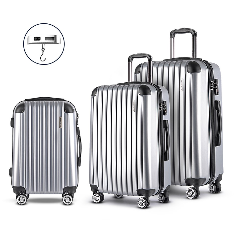 Wanderlite 3 Piece Lightweight Hard Suit Case - Silver