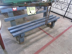 Old Style Park Bench With Concrete Base Timber Slats 1870 Long