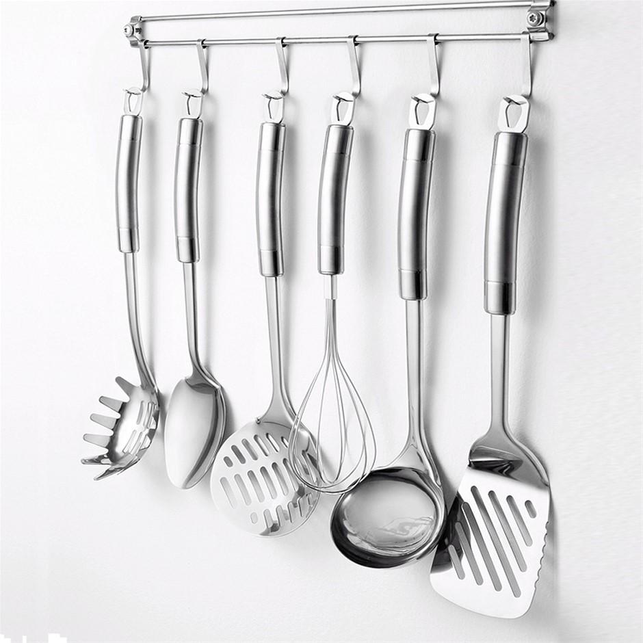 Exquisite 7pcs Kitchen Utensils set SS Hanging Racks Storage Ladle