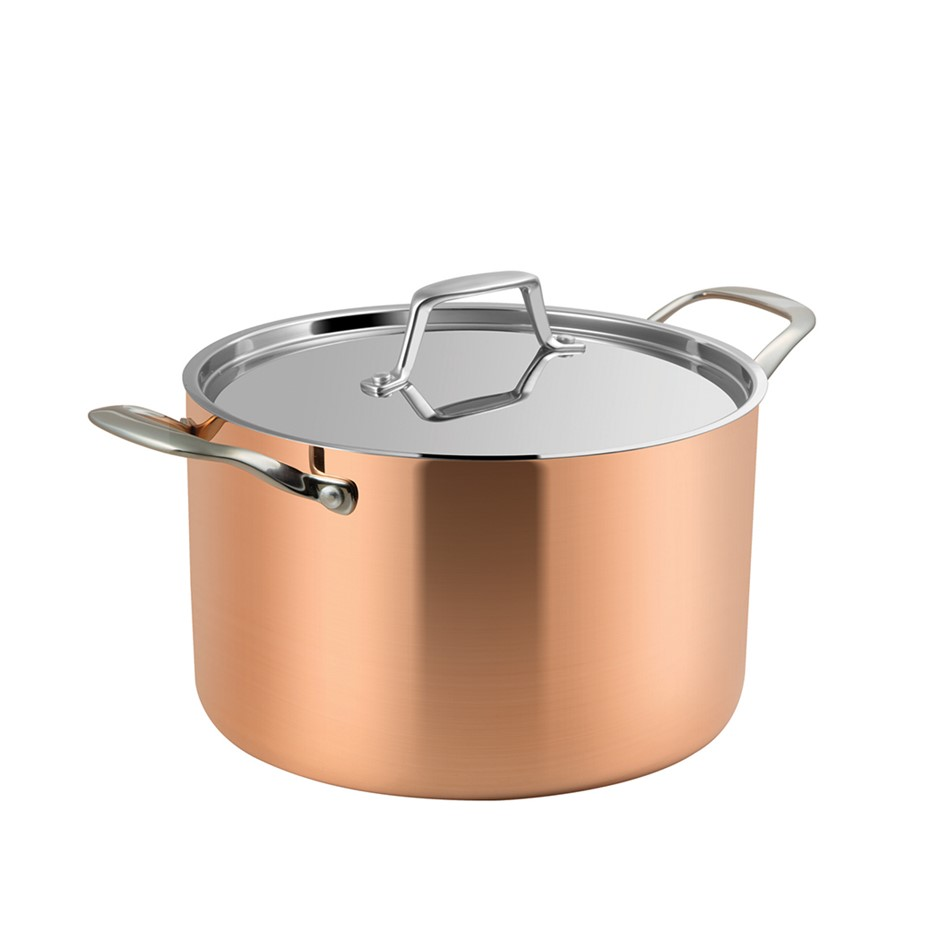 Lassani Tri-Ply Copper 20cm Casserole Stock Pot Lid Cookware Induction SS