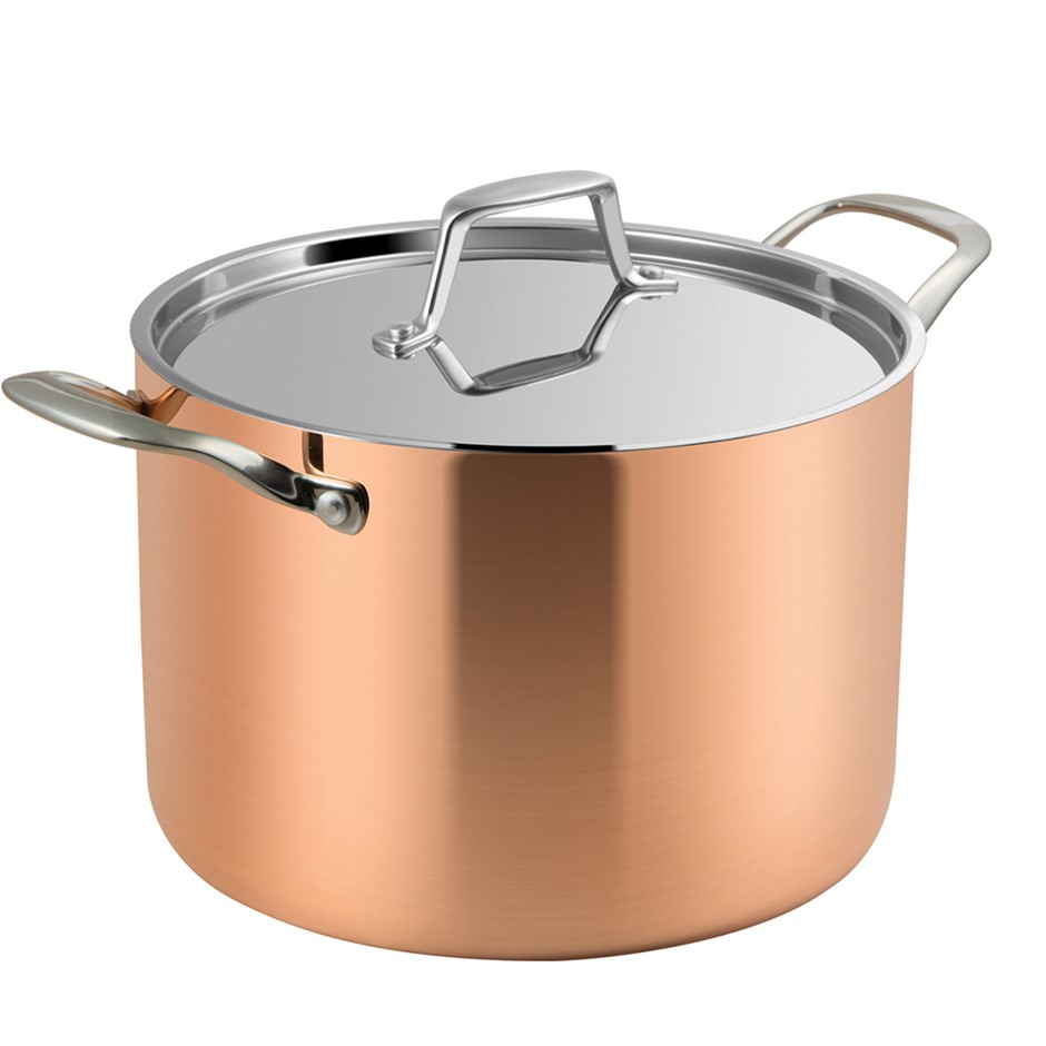 Lassani Tri-Ply Copper 24cm Casserole Stock Pot Lid Cookware Induction SS