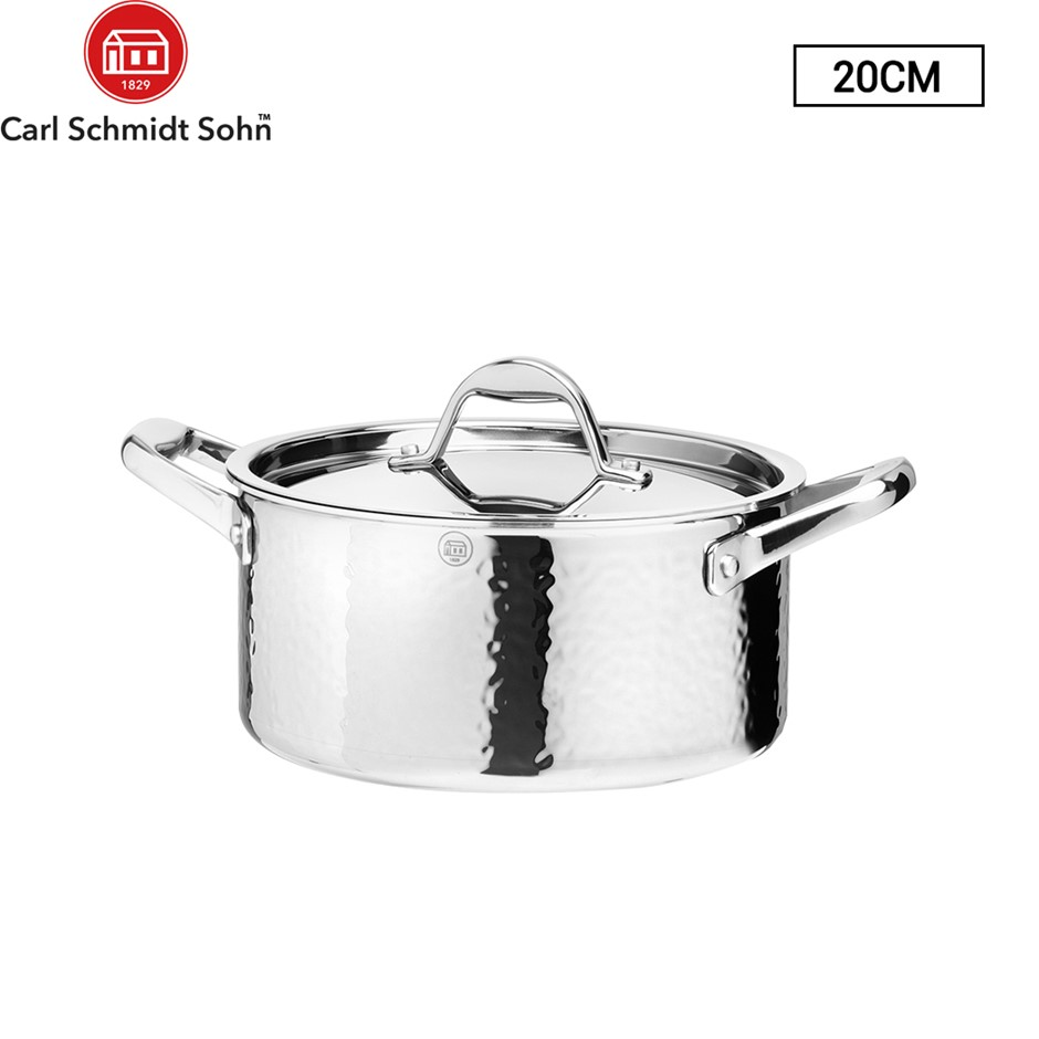 Stern Casserole Tri-Ply Body With S/S Lid 20cm Stainless Steel Hammered