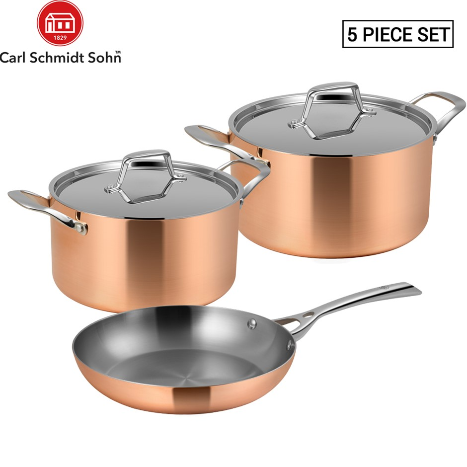 Lassani Tri-ply Copper 5pcs Cookware Frypan 20cm