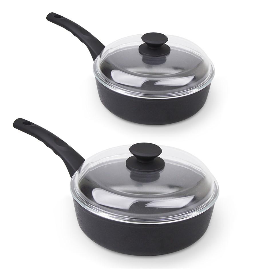 Munster 2pc Deep Fry Pan w/ Glass Lid Non Stick Frypan Frying Wok Induction