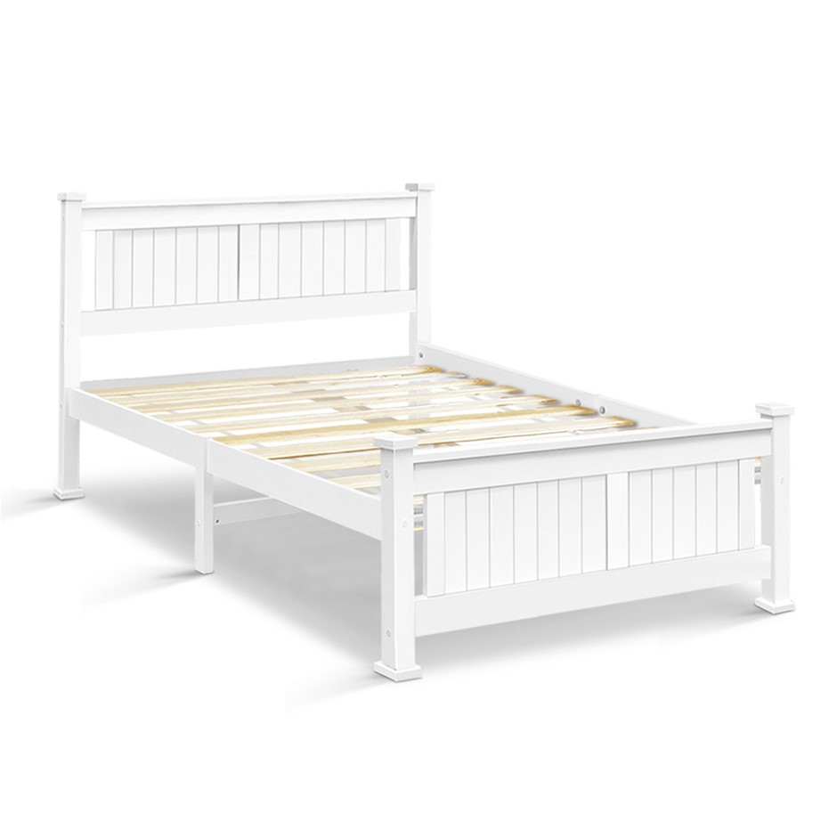 Artiss Double Size Wooden Bed Frame - White