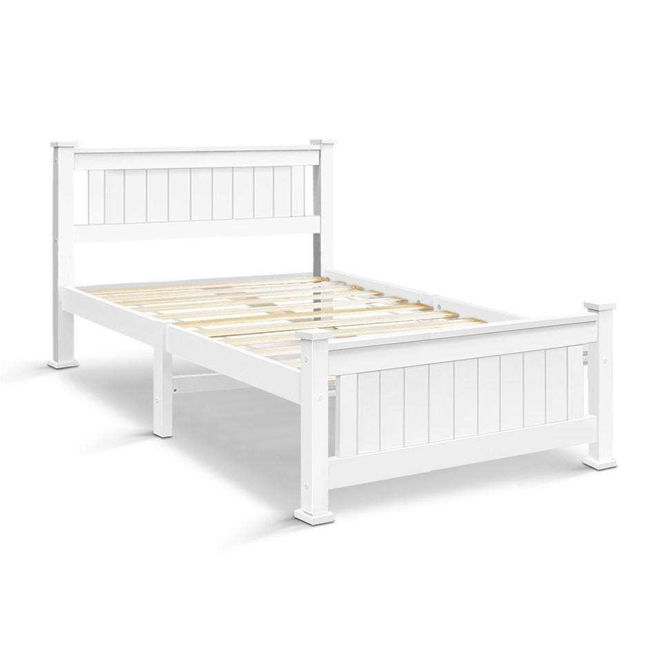 Artiss King Single Wooden Bed Frame - White